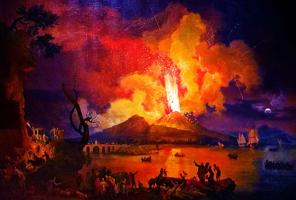 1770 painting of Vesuvius erupting by Pierre Jacques Antoine Volaire I Science, Technology, and Lifestyle I SciTechLifestyle.com